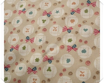 Kawaii Light Brown Ribbon Cherry Star House Cotton Fabric ( Half Yard )