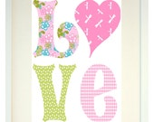 Fine Art Print - All You Need is Love in Pink and GreenColourful Print for Girls by Chichiboulie