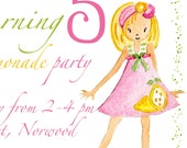 Printable Personalised Birthday Invitation for Girls - Pink Lemonade