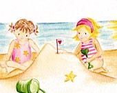 CLEARANCE - Original watercolour girls on the beach on watercolour paper - Sandcastles - chichiboulie