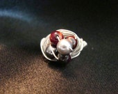 WRAPPING UP A WIN-Sterling Silver Wrapped Czech Glass, Swarovski Crystal Pearl Buckeye Ohio State Ring