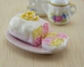 Lemon Rose Cake - 1/12 Dollhouse Miniature Dessert