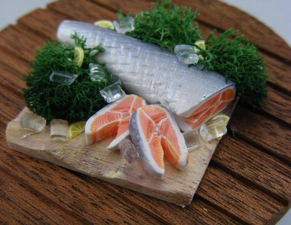 Salmon with Lemon and Dill - 1/12 Scale Preparation Board