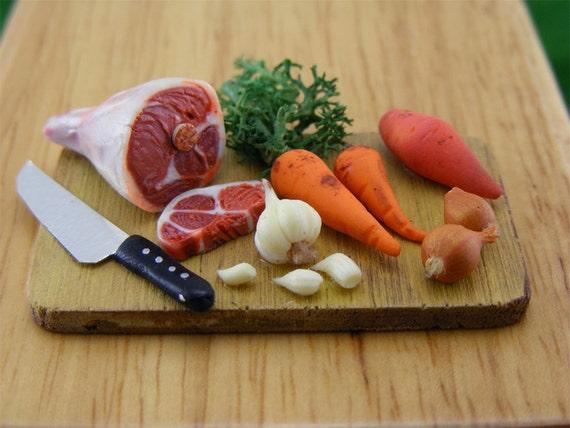 Traditional Irish Stew  - 1/12 Dollhouse Scale Preparation Board