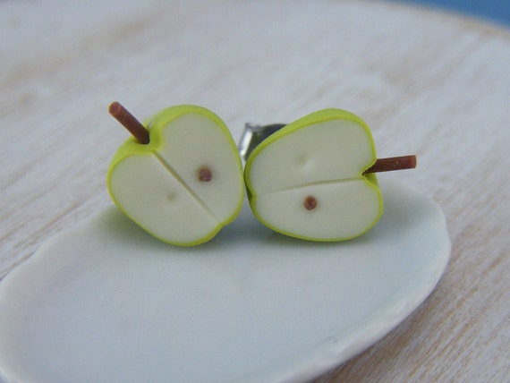 Granny Smith Apple - Studs / Post Earrings