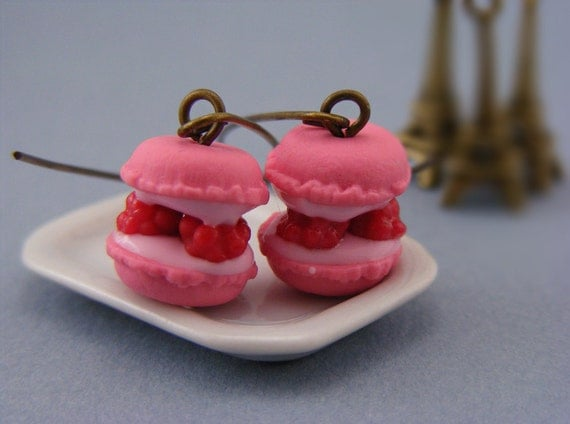 Raspberry Macaron Earrings