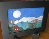 Full Moon Quilted Landscape Postcard Art Quilt
