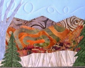Quilted Fabric Postcard, Fall Mountain Landscape, Fiber Art to Frame