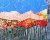 Quilted Fabric Postcard, Fall Mountain Landscape Mini Art