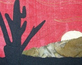"Desert Sunset Landscape Quilted Fabric Postcard Art Quilt-Cactus 5"" by 7"""