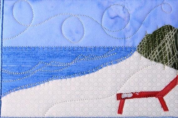 Fabric Postcard Art Quilt,Beach Landscape Mini Applique Art Quilt