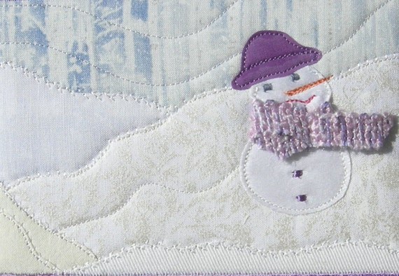 Quilted Fabric Postcard - Art Quilt - Snowman Winter Landscape Fiber Art