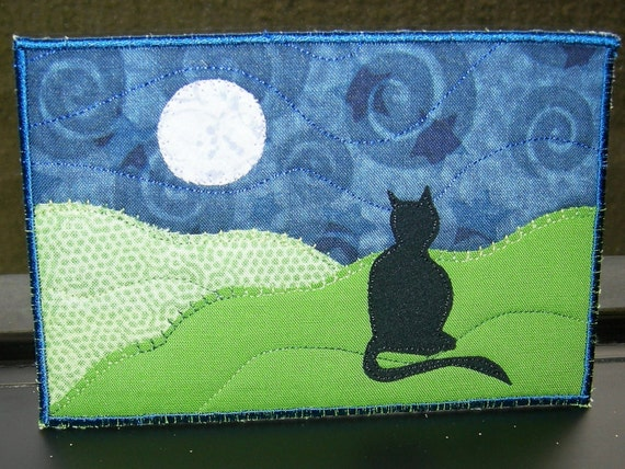 Cat and Moon Fabric Postcard Art Quilt- Landscape Fiber Art