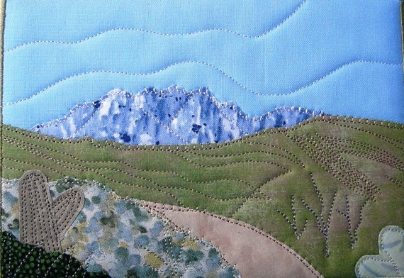 "The West Landscape Quilted Fabric Postcard Art Quilt-Dirt Road through the Desert 5"" by 7"""