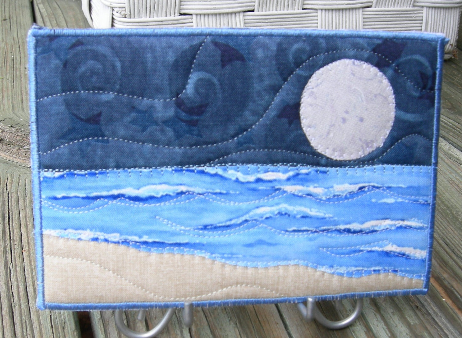 Big moon seascape fabric postcard art quilt by sewupscale for Moon pattern fabric