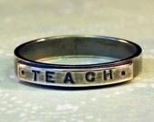 sz 5 Silver TEACH Ring