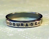 sz 9 Silver COURAGE Ring