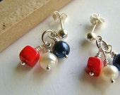 Small red white blue cluster stud earrings, pearls.. dyed red coral..sterling silver..patriotic holiday collection