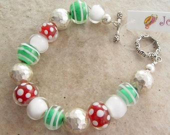 Handmade Bracelet, Holiday Rounds, Glass and Silver