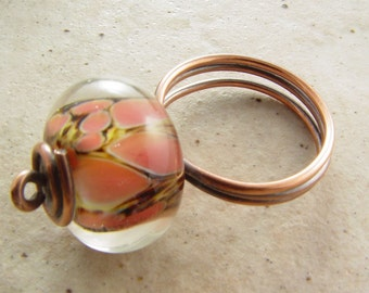 Freeform Copper and Coral Glass Ring, size 9.5