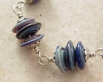 Handmade Bracelet, Denim Dreams, Glass and Sterling Silver