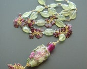 Prehnite Garnet Rubellite Necklace Effetre Glass Pendant - Gentrified Gladiolus Garden
