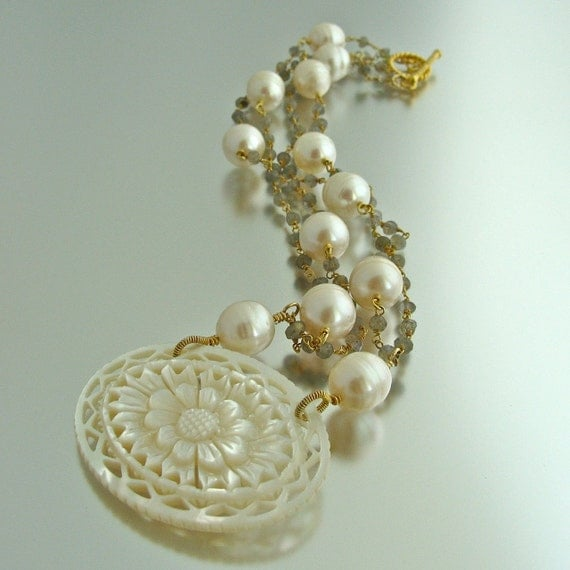 Pastiche Necklace - Carved Mother-of-Pearl Pendant with Labradorite and Baroque Pearls