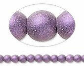 Czech PURPLE SATIN Druk beads 6MM (28)