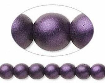 6 MM Purple satin Druk beads (28)
