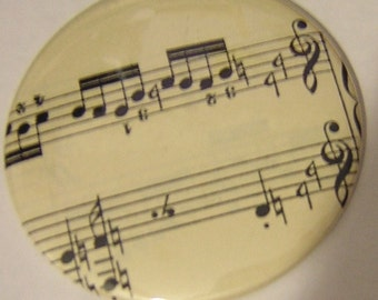 Music Magnet 2 1/4 inch Vintage Sheet Music set of 2 kitchen magnet, music notes, Refrigerator magnet, music lover