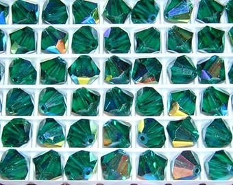 VINTAGE Swarovski 8MM Emerald AB beads (16) Art.5301  Sale