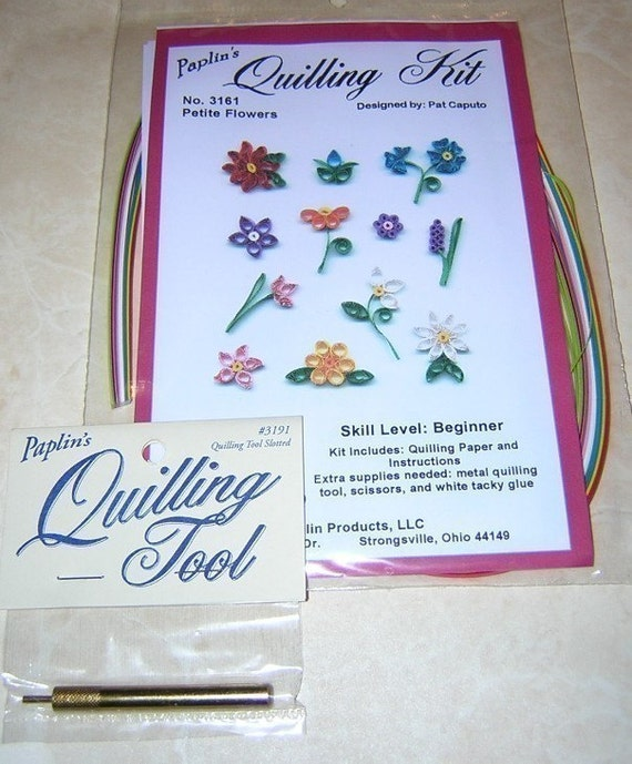 Beginners QUILLING kit FLOWERS w/tool and paper Paplin FREE Shipping paper quilling, paper Filagree, scrapbooking
