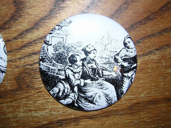 Black and White Toile print 2 1/4 inch pocket mirror 2    FREE SHIPPING