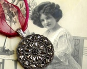 Black Lace, Antique button necklace - 1800's Victorian glass button on burgundy ribbon with sterling.