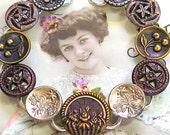 "1800s BUTTON bracelet, Victorian purple flowers & fruit on silver. 7.5"" Antique button jewelry, jewellery."