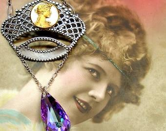 1900s Antique BUTTON sterling necklace, Edwardian Art Nouveau goddess on crown.