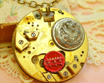 DRAGON Moon necklace, Antique pocket watch & buttons. Antique button jewelry, jewellery.