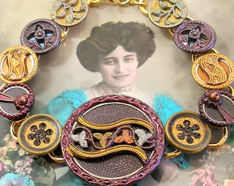 Antique BUTTON bracelet, Victorian perfume buttons & COMETs, 8.5 inch jewellery. Antique button jewelry, jewellery.