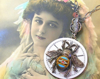 BEE, Antique BUTTON necklace, Victorian watch & flowers on sterling silver chain, jewellery.