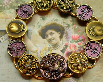 """Victorian Garden BUTTON bracelet, Antique buttons with Fruit & Flowers, 8"""" one of a kind jewellery."""