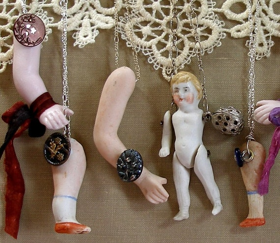 Doll Parts, Antique BUTTON necklace, Victorian twinkle with arm on sterling silver chain, jewellery.