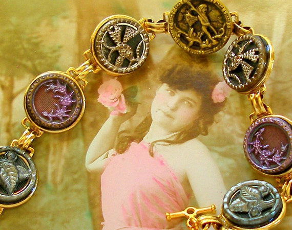 """Antique BUTTON gold bracelet, Victorian FAIRY with butterflies flowers in pink & teal. 7.25"""" jewellery."""