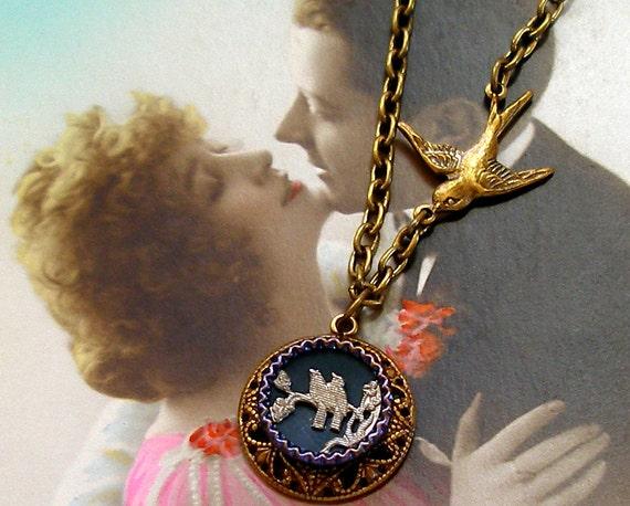 LoveBirds Antique BUTTON necklace, 1800s Victorian BIRDS on brass chain.Antique button jewelry, jewellery