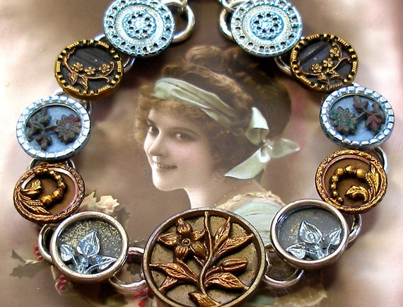 Antique BUTTON bracelet, French Victorian flowers in bronze & blue on silver.
