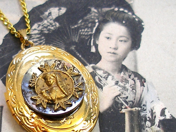 Antique BUTTON locket necklace, Japanese lady with umbrella on gold.