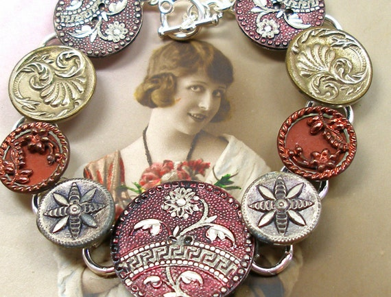 Antique BUTTON bracelet, Victorian flowers in silver & reds. Antique button jewelry, jewellery.