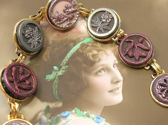 Antique BUTTON bracelet, Victorian BUTTERFLY & flowers in pink, maroon, silver. Antique button jewelry, jewellery.