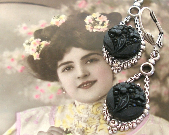 Antique Lacy BUTTON earrings, Victorian black glass flowers.