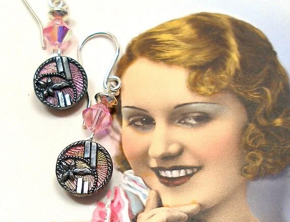 1800s Antique mini BUTTON earrings, Edwardian flowers in pink & gray on sterling silver, jewellery.