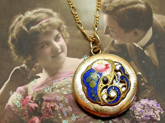 Antique BUTTON locket necklace, Victorian enamel with flowers on gold.